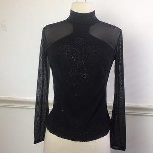 Vintage Black Illusion mesh sexy long sleeve top M